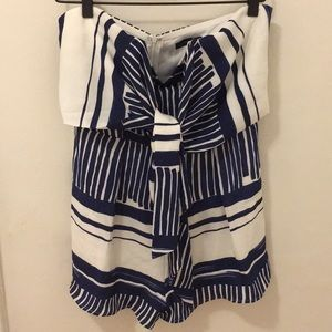 CALS blue and white striped strapless romper Large